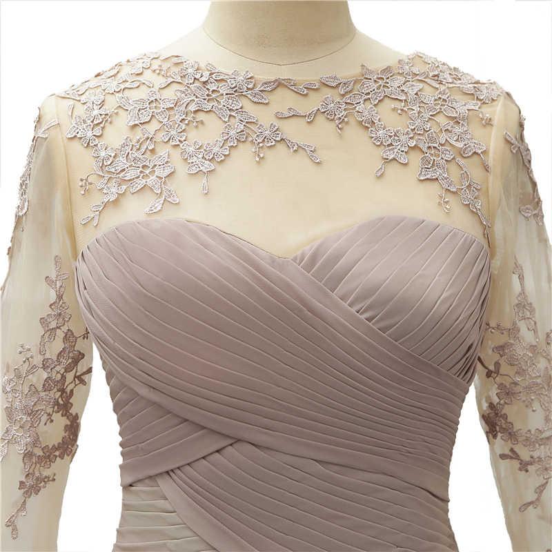 Vestidos de novia Madre de la novia de cuello redondo transparente 2019 Apliques de encaje talla grande boda invitado vestidos 3/4 largos mangas
