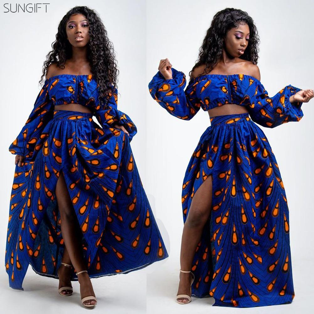 SUNGIFT Dashiki Dresses Off-shoulder Lantern Sleeve Print 2019 African Robe High Waist Skirt 2 Pieces 1 Set Party Dress Vestidos