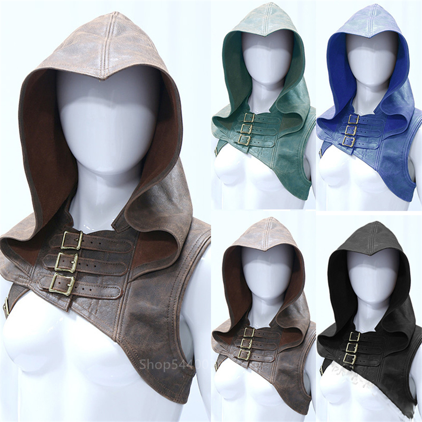Medieval Men Costumes Accessories Viking Warrior Vest Knight Shawl Cape Women Renaissance Cosplay Hat Archer Fancy Disguise