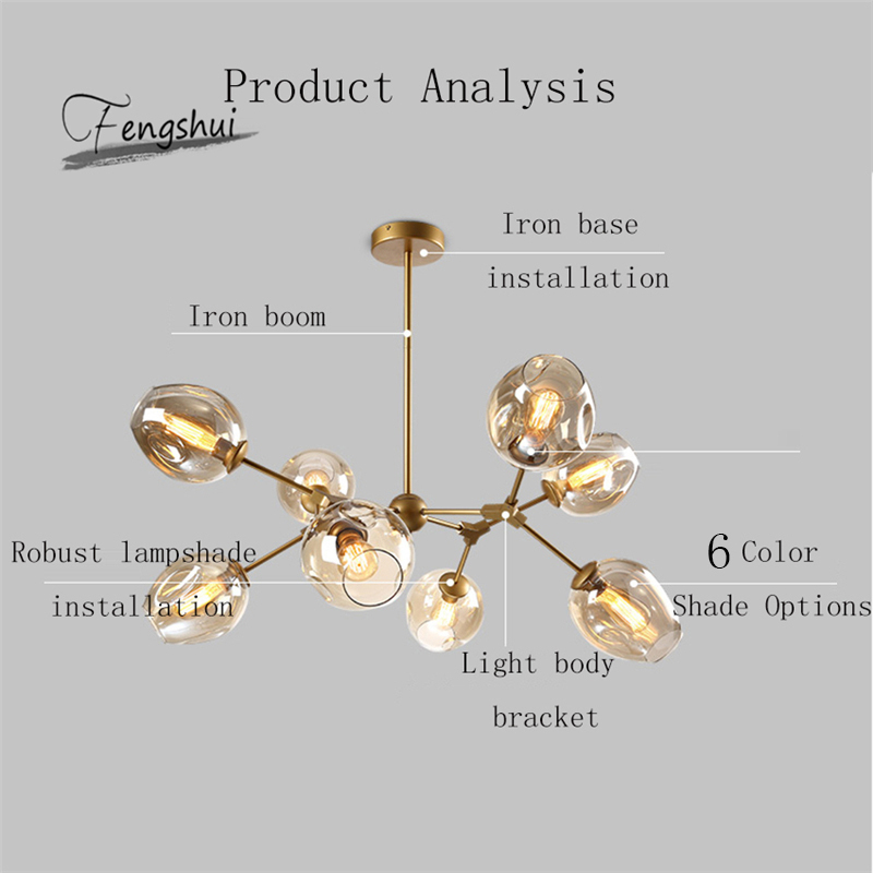 Modern Glass Chandelier Home Decor Dinning Room Hanging Lamps Restaurant Lustre Creative Living Room Simple Chandeliers Ceiling