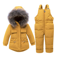 Children's down Jacket Set for Men And Women Baby Winter Coat 123 Year Old Infants Mid length Two Piece Set Children's Clothing