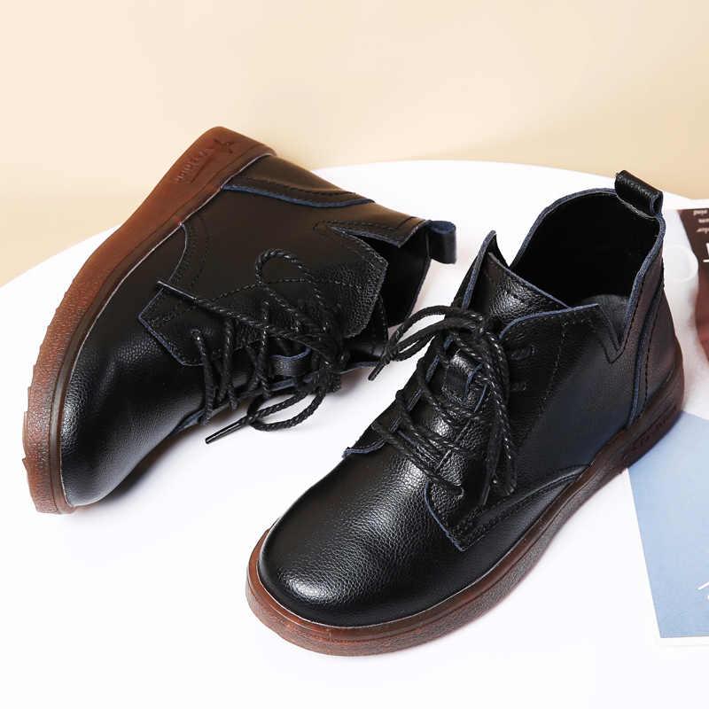 STQ kadınlar kış kar botları ayakkabı hakiki deri çizmeler kadın sıcak peluş astarı bayanlar daireler kar botları ayakkabı LSJ1207