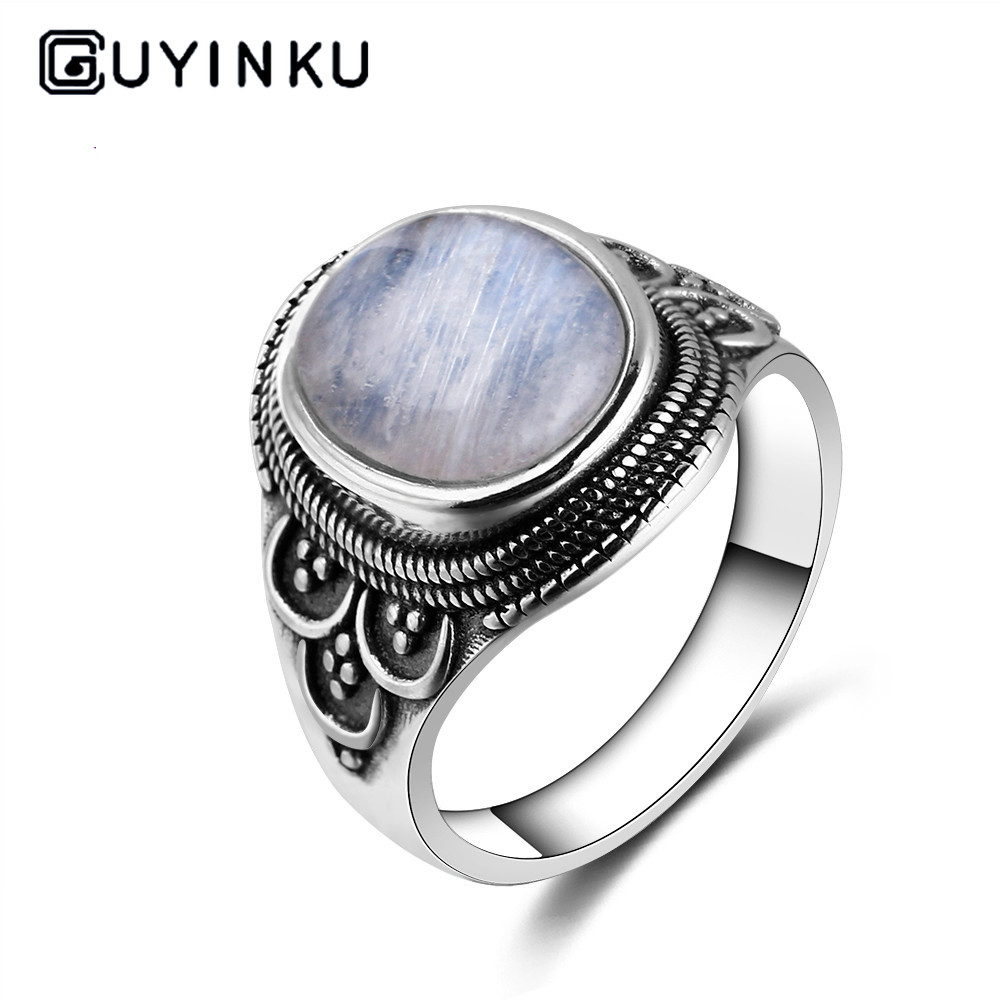 925 Silver Ring Oval 10*14MM Natural Moonstone Ring Bohemian Style Jewelry Engagement Wedding Party