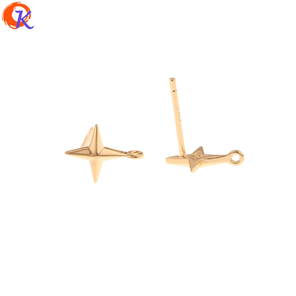 Cordial Design 50Pcs 8*10MM Jewelry Accessories/Earrings Stud/Silver Pin/Genuine Gold Plating/Hand Made/DIY/Earring Findings