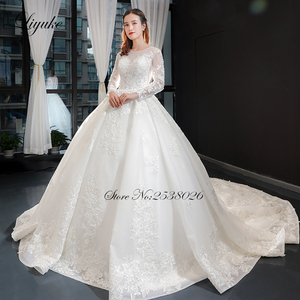 Image 5 - Liyuke Scooped Neckline Ball Gown Wedding Dress With Elegant Chapel Train Wedding Gown Full Sleeve