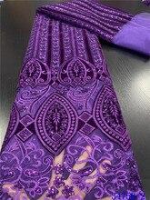 Tela de encaje de terciopelo, gran oferta, 2020, tela de encaje africano de alta calidad con encaje francés con lentejuelas, tela para vestido de noche APW3475B