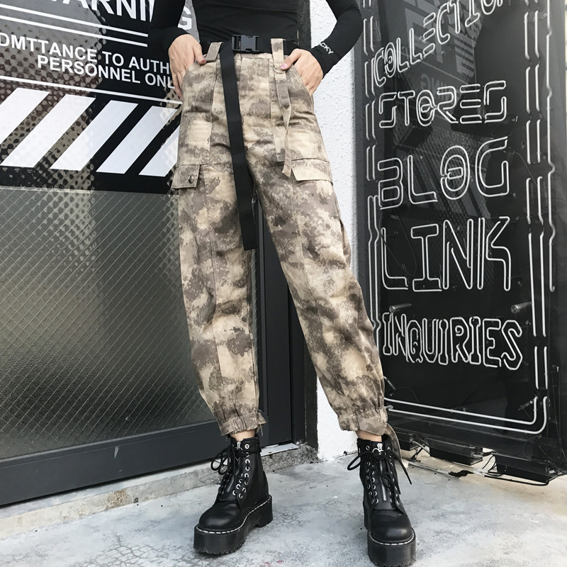ING Camo Pants Women Camouflage High Waist Cargo Harajuku Ladies Trousers Streetwear with Belt big Pocket Overalls pants