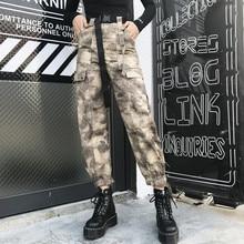цена на ING Camo Pants Women Camouflage High Waist Cargo Pants Harajuku Ladies Trousers Streetwear with Belt big Pocket Overalls pants
