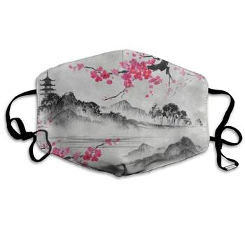 ZHOUSUN Dustproof Japanese Oil Painting Cherry Blossom Sakura Flower Mouth Cover Mask Protective   Warm Windproof Mask