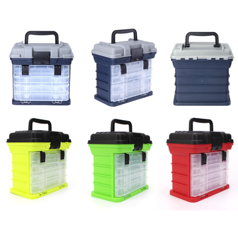 5 Layer High Quality PP+ABS Big Fishing Accessories Box Plastic Handle Fishing Tools Available In Four Colors 27x17x26cm