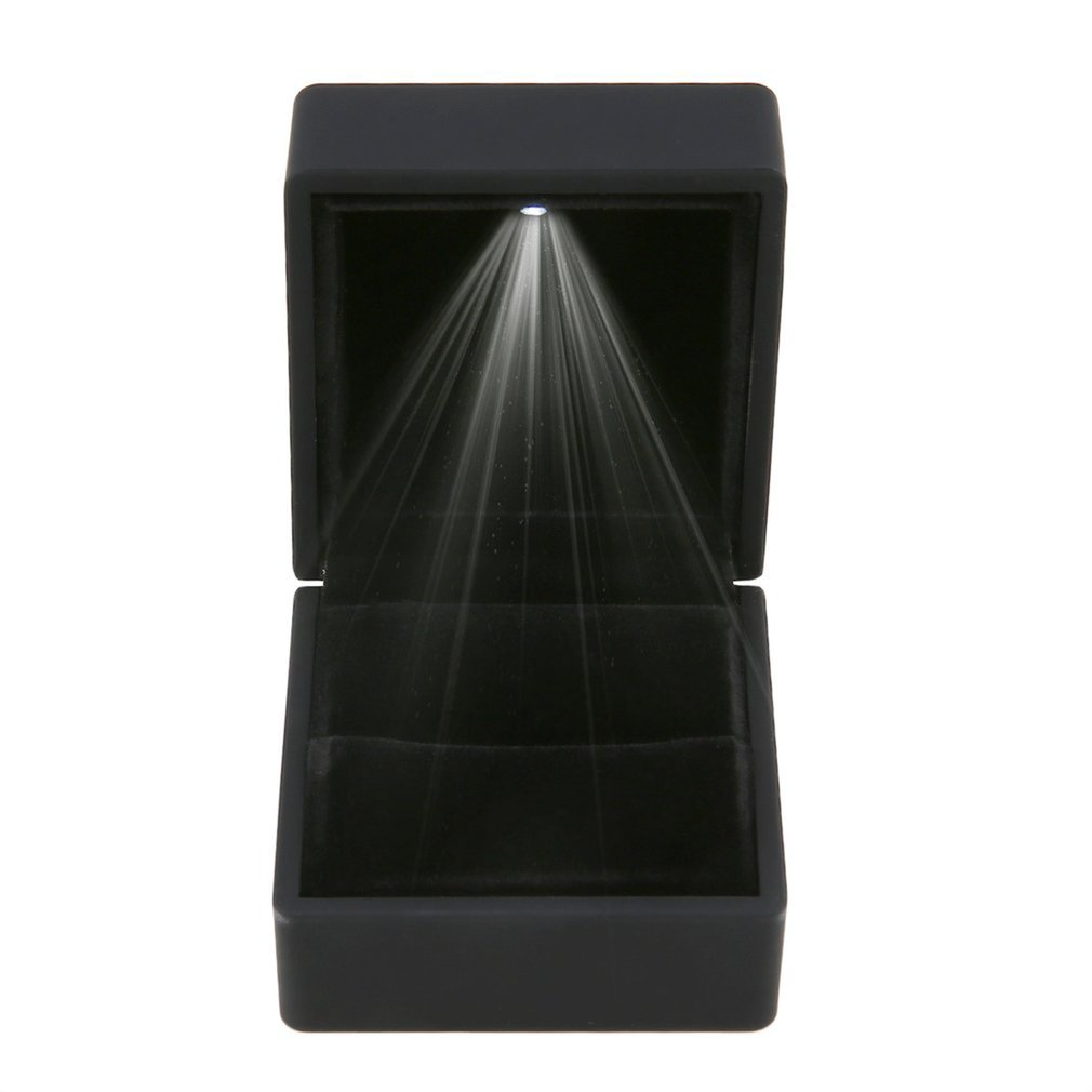 Black Blue LED Lighted Earring Ring Gift Box Wedding Ring Jewelry Display Packaging Organizer Storage For Engagement NEW