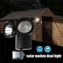 22 LED Dual Head Solar Light Outdoor Wall Lamp Powered PIR Motion Sensor Garden Yard Security Light Spotlights