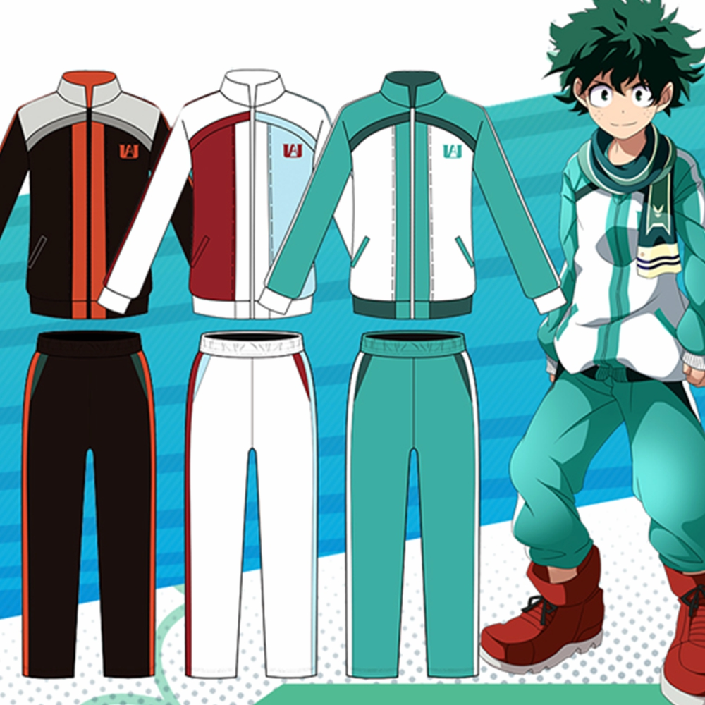 Boku No My Hero Academia Midoriya Shoto Todoroki Cosplay Costume Men Women Anime Sweatshirts Uniform Sportswear Gym Tops+Pants