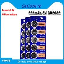 15 pçs sony original cr2032 botão celular bateria 3v baterias de lítio cr 2032 para relógio de brinquedo remoto controle calculadora computador