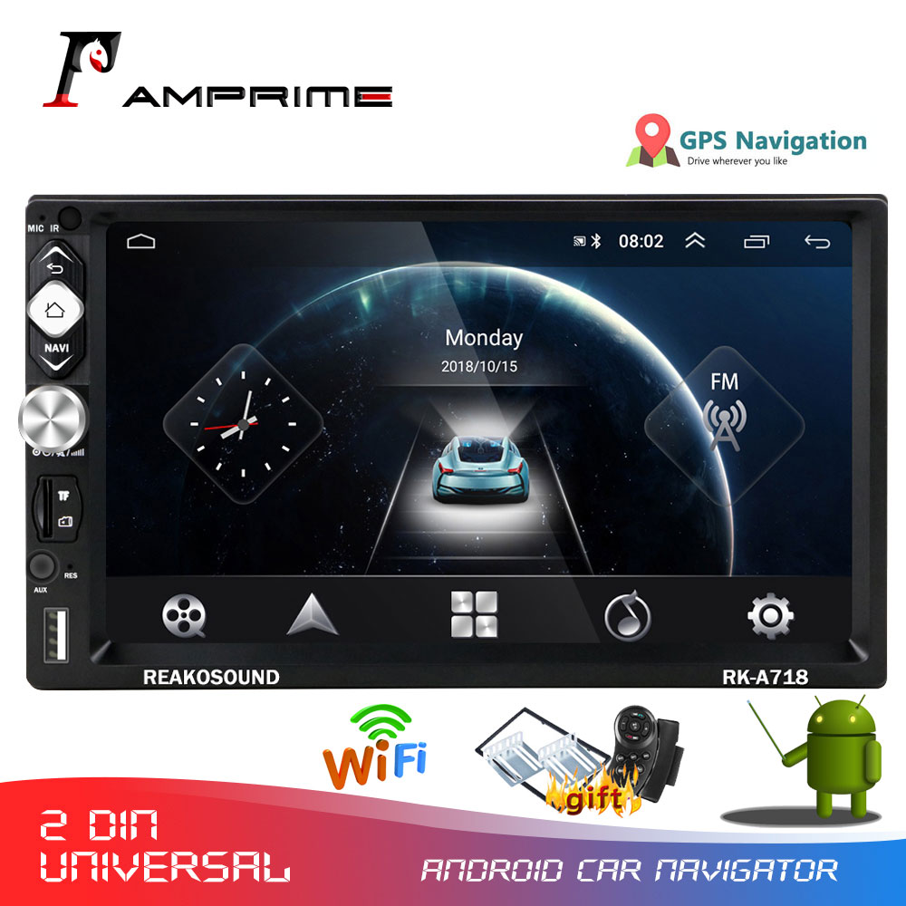 AMPrime 2 Din Android Car Radio 7''Car Multimedia Player GPS Navigation Mirror-Link Audio WIFI Player 2din AutoRadio With Frame image