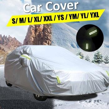 210T wodoodporne pokrowce samochodowe odkryty słońce pokrywa ochronna dla samochodów reflektor pył deszcz śnieg ochronna suv sedan hatchback pełna tanie i dobre opinie Audew CN (pochodzenie)