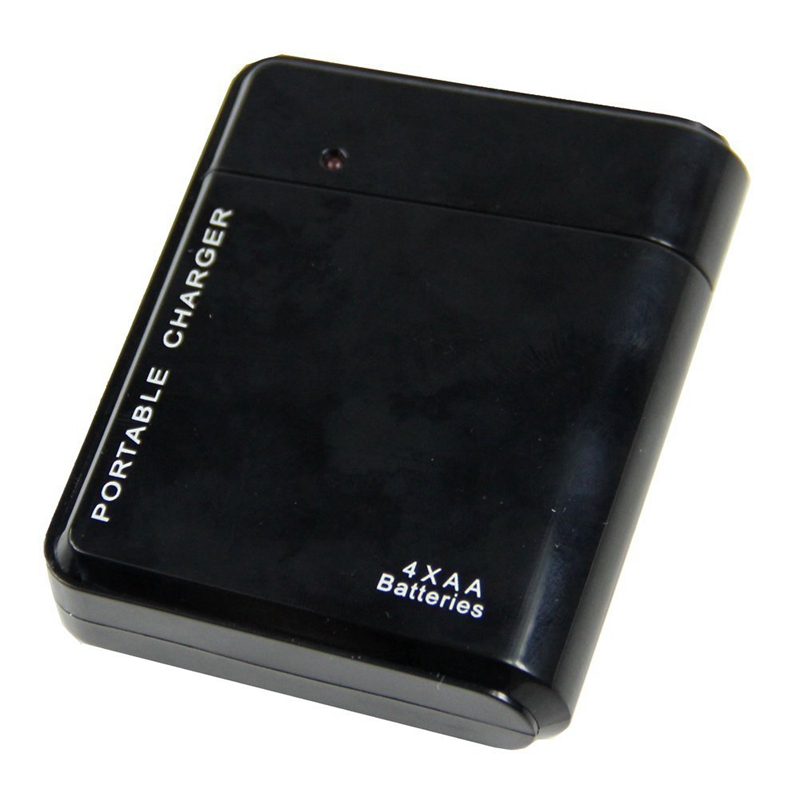 Black 4X AA Battery Portable Emergency Power Charger USB For Cell Phone