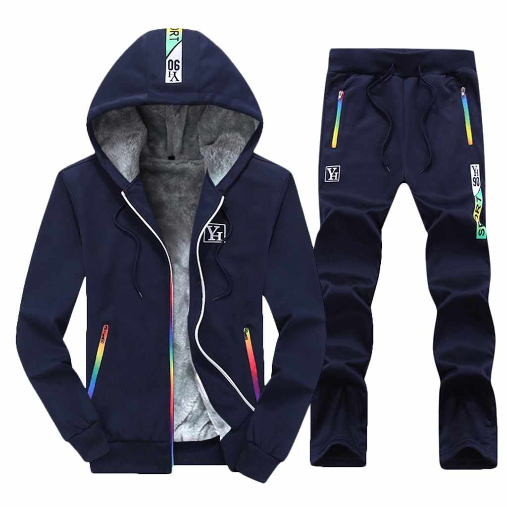 Trainingspak Mannen Herfst Winter Men Fashion Casual Sweatsuit Mannen Jogging Pak Lange Mouwen Truien Trainingspak Mannen Sport Sets Hooded