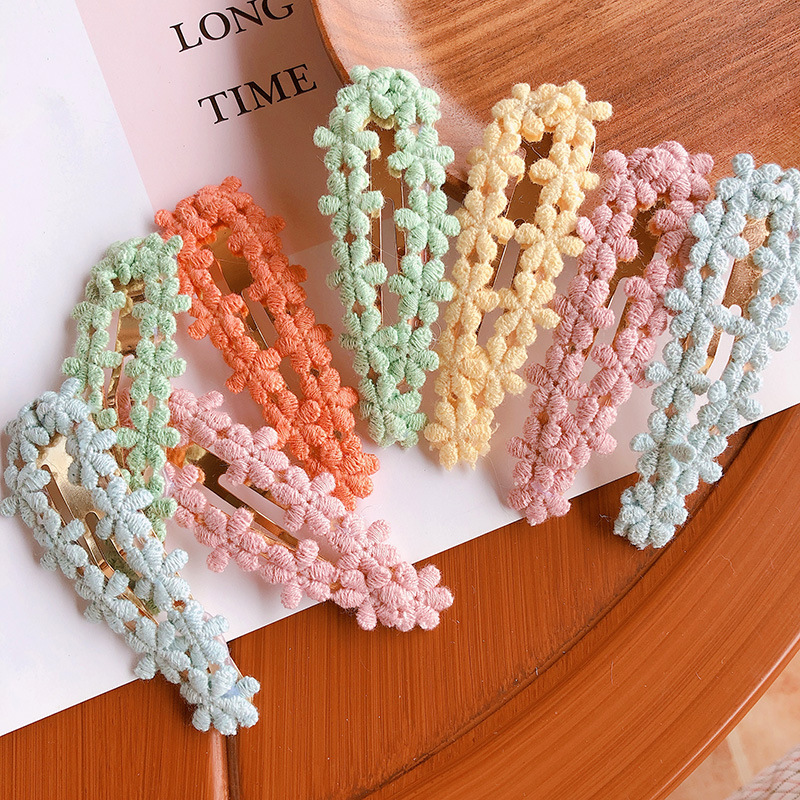 2Pcs/Set2020 Spring And Summer New Hair Clip Korean Candy Color Lace Girl Heart BB Clip Hair Accessories