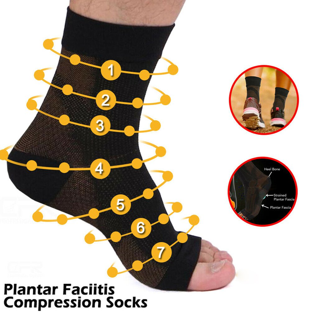 Foot Plantar Fasciitis Arch Support Compression Socks Ankle Heel Brace Copper Leg Support Stretch Compression