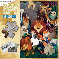 Wooden Puzzle 300 500 1000 Pieces Puzzle Toys Animal Gatherings Jigsaw Puzzles for Adults Cartoon Animal Pattern Puzzle Games