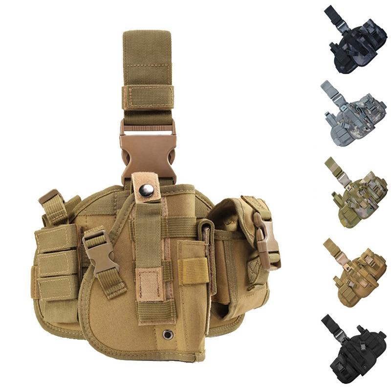 Army Tactical Leg Gun Holster Pistol Gun Drop Thigh Holster Outdoor Camouflage Nylon Magazine Pouch Gun Case Hunting Accessories