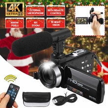 HD Camcorder Video-Camera Professional Digital Night-Vision 4K with Mic 18X 30MP