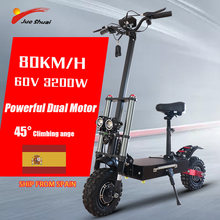 80km/h Electric Scooter with Seat 60V 3200W Off Road Adult E Scooter Foldable Skateboard 2 Big LED Light Electric Kickbaord