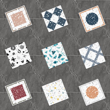 Twill Self-adhesive Terrazzo Plane Contact Wallpaper Removable Creative Pattern PVC Tile Floor Sticker Waterproof Peel And Stick