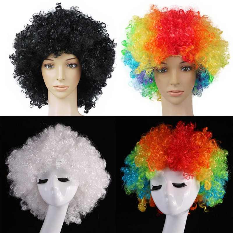 Kid Adult Hair Wigs Clown Curly Afro Circus Dress Up Short Party Disco Costume