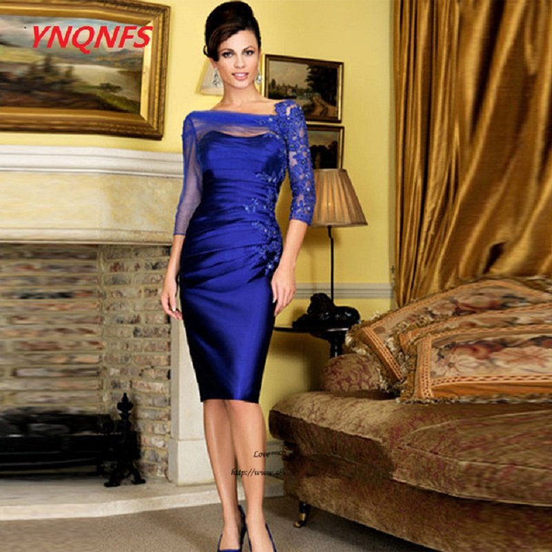 Ynqnfs MS22 Blue 2019 Mother Of The Bride Dresses Sheath 3/4 Sleeves Lace Beaded Short Wedding Party Dress Mother Dresses For