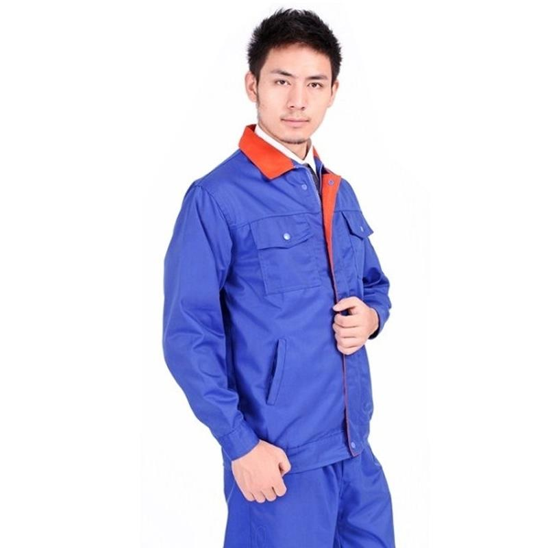 Blue With Orange Lapels Overalls Factory Clothes Engineering Clothes Suit Long-sleeved Suit And Set New 2020 Spring Autumn Work