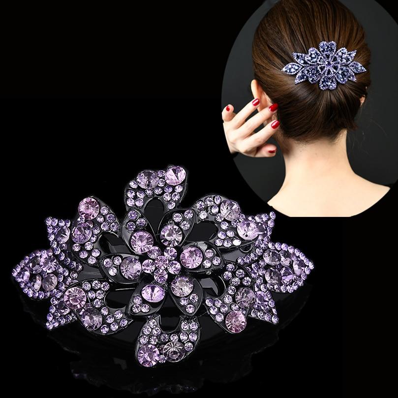 AWAYTR Korean Rhinestone Hairpin Ladies Elegant Flower Hair Clips Large Horsetail Hair Clip Female Headdress Hair Accessories