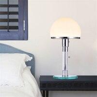 북유럽 디자이너 led 테이블 빛 wilhelm wagenfeld bauhau 테이블 램프 책상 조명 침실 bedside lusters 유리 led 램프 비품