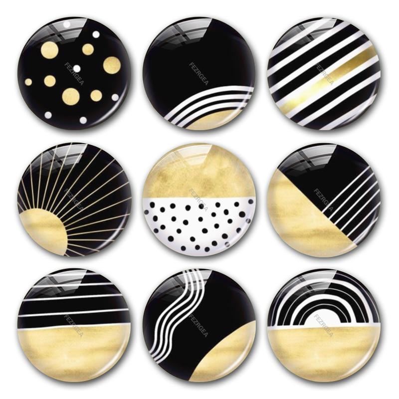 Geometric Pattern Glass Cabochon,black White Gold Digital Images Round Photo Cabochons Demo Flat Back Jewellry Making Findings