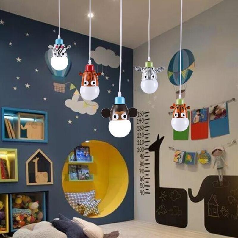 Cartoon Animal Monkey Zebra Cow Giraffe Tiger LED Children Pendant Chandelier Lighting For Room Decor Lampshade Chandelier Lamp