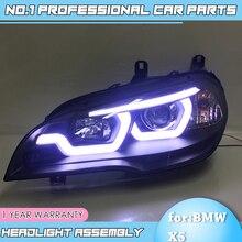 Acessórios para carro para bmw x5 e70 2010 2019, lâmpada para farol automotivo bmw x5, lâmpada led drl, feixe duplo h7 hid lente de xenon bi xenon