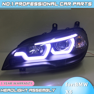 Image 1 - car accessories for BMW X5 e70 2007 2013 Headlight for BMW X5 Head Lamp Auto LED DRL Double Beam H7 HID Xenon bi xenon lens