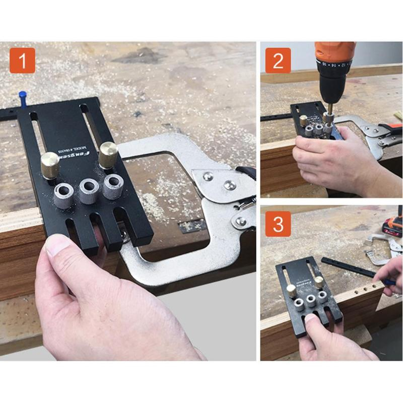 3 In 1 Dowelling Jig Woodworking Drill High Precision Calibration Durable Practical For Furniture Fast Connecting Cam Fitting