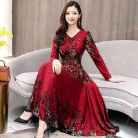 winter velvet warm party dress for women Plus Size 2019 bodycon slim V Collar Flower Printed Long Sleeve Woman Long Dresses