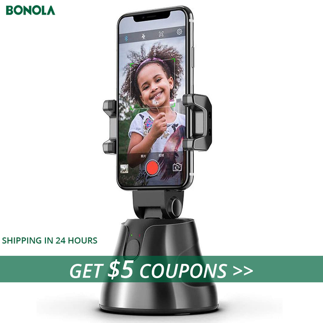 Bonola Auto Smart Shooting Selfie Stick Intelligent Gimbal AI Composition Object Tracking Face Tracking Camera Phone Holder