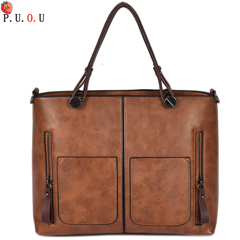 PUOU Leather Handbags Big Women Bag High Quality Casual Female Bags Trunk Tote Spanish Brand Shoulder Ladies Large Bolsos MM