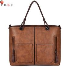 PUOU Leather Handbags Big Women Bag High Quality Casual Female Bags Trunk Tote Spanish Brand Shoulder Bag Ladies Large Bolsos MM