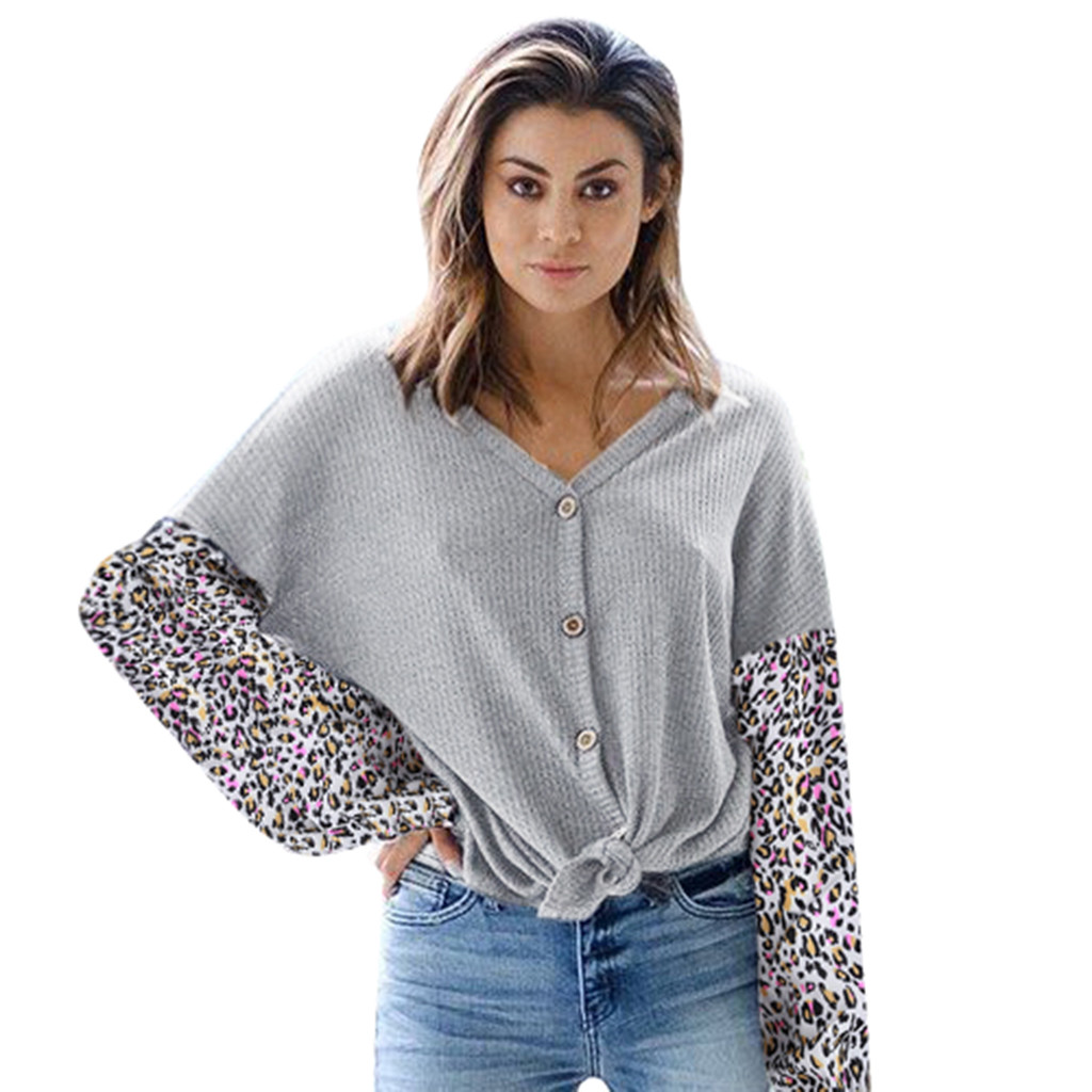 Autumn and Winter New Fashion cardigan womenCasual V-Neck Loose Leopard Button Patchwork knitting Tops Sweater pull femme