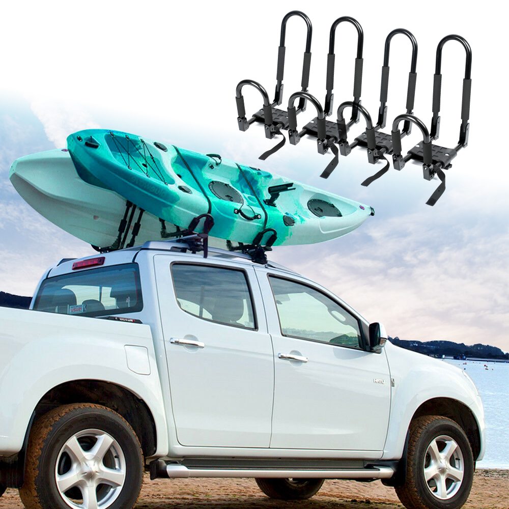 Triclicks 2 Pairs Foldable J-Bar Rack HD Kayak Carrier Canoe Boat Surf Ski Roof Top Mount Car SUV Crossbar Kayak Roof Rack
