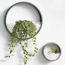 Wall Planter Modern Metal Iron Art Round Wall Vase Home Night Light Feng Shui Decor Crafts Succulent Plants Hanging Vases Gifts
