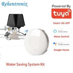 Risparmio Di acqua Valvola Di Automazione Casa Intelligente Amazon Alexa Google Collegamento Di Allarme WiFi Acqua Leakge Rivelatore con Di Suono Di Allarme