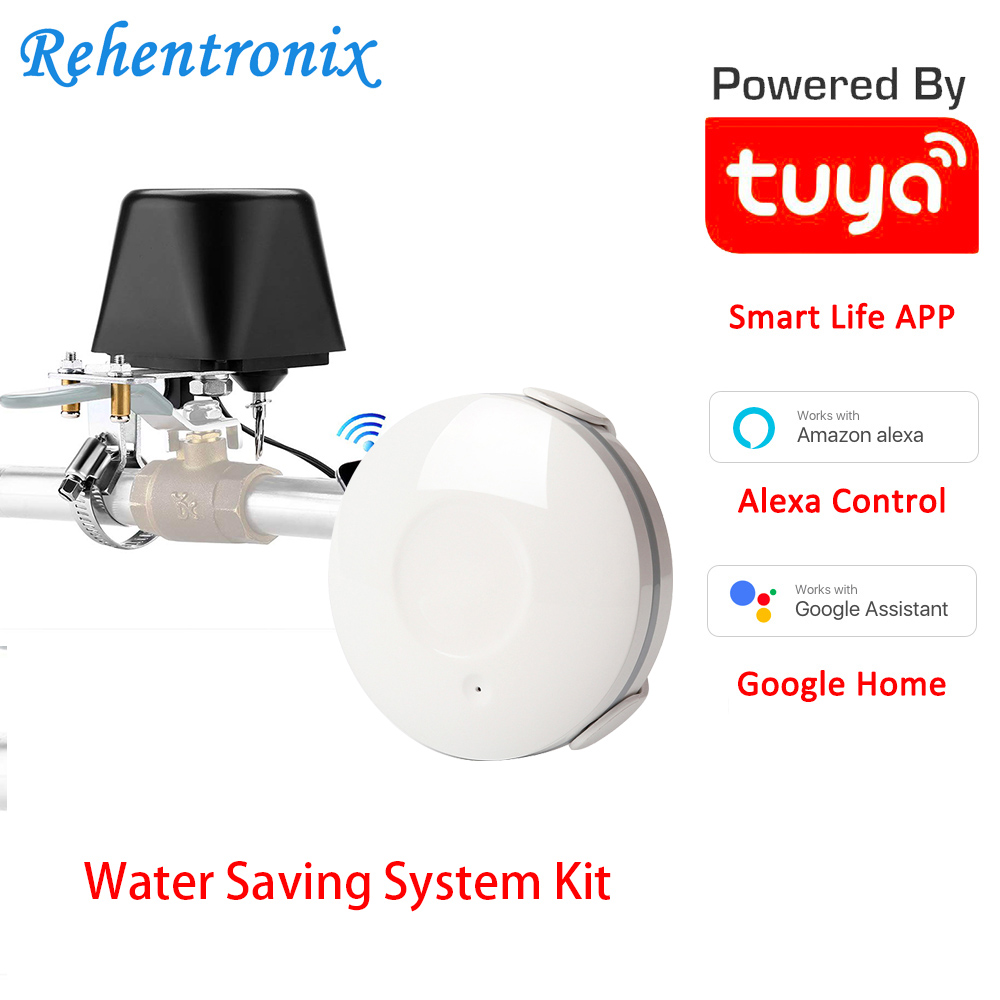 Water Saving Home Automation Smart Valve Amazon Alexa Google Linkage Alarm WiFi Water Leakge Detector With Di Sound Alarm