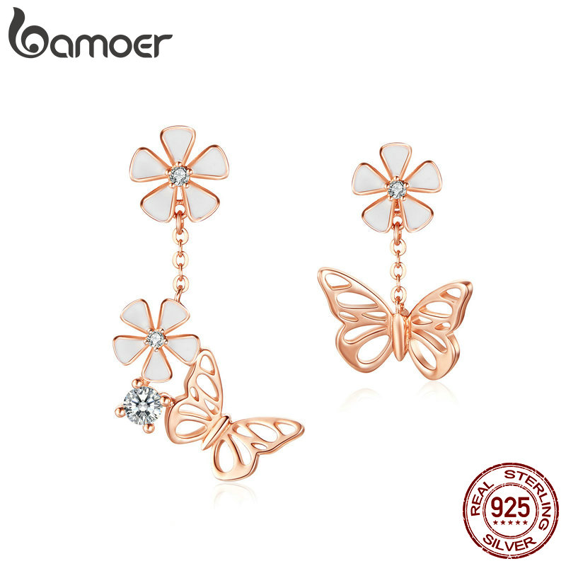 BAMOER Butterfly And Flower Earrings S925 Enamel Floral Asymmetry Dangle Earring 925 Sterling Silver Engagement Jewelry BSE100