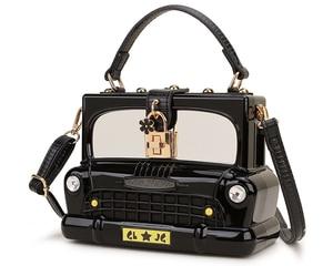 Image 2 - אופנה שחור רכב צורת אקריליק תיבת צורת נשים תיק כתף תיק ארנק Crossbody תיק נשי מסיבת מצמד תיק מעצב תיק